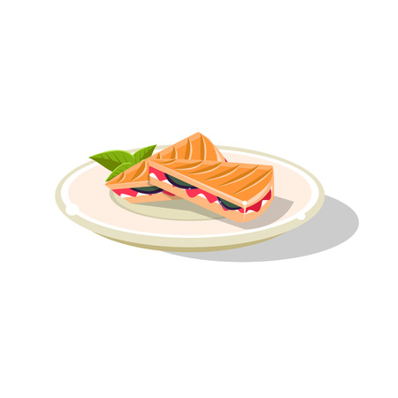 Traditional Italian Sandwich Simplified Flat Vector Icon Isolated On White Background Illustration
