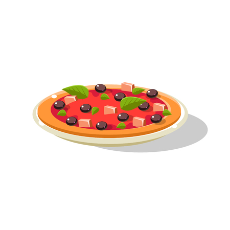Traditional Italian Pizza Simplified Flat Vector Icon Isolated On White Background Illustration