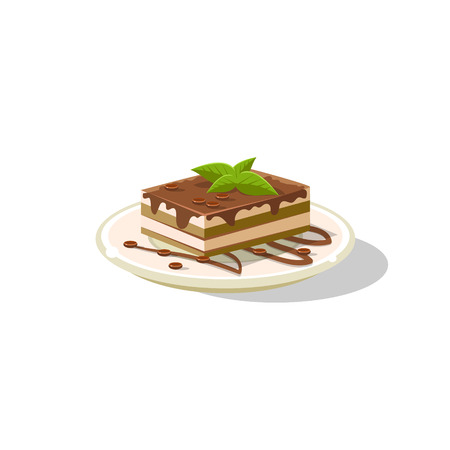 Traditional Italian Tiramisu Simplified Flat Vector Icon Isolated On White Background