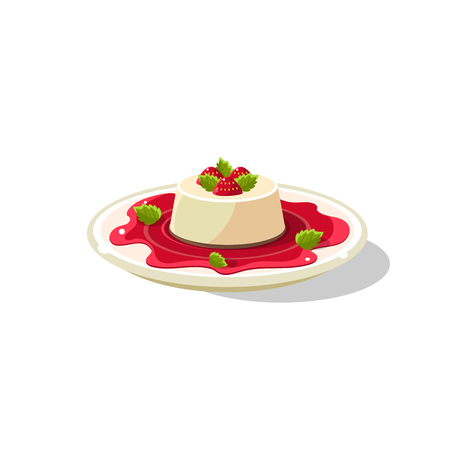 Traditional Italian Panna Cotta Simplified Flat Vector Icon Isolated On White Background