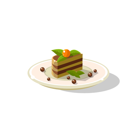 Traditional Italian Layered Cake Dessert Simplified Flat Vector Icon Isolated On White Background Illustration