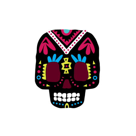 scull: Black Traditional Mexican Painted Scull Cool Pattern Vector Design Icon Isolated On White Background Illustration