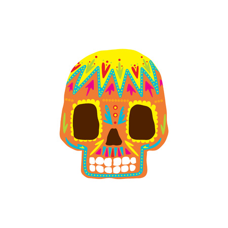 cult tradition: Bright Color Traditional Mexican Painted Scull Cool Pattern Vector Design Icon Isolated On White Background