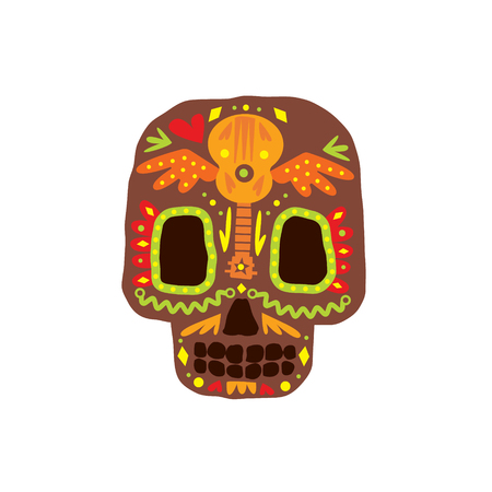 scull: Traditional Mexican Painted Scull Cool Pattern Vector Design Icon Isolated On White Background Illustration
