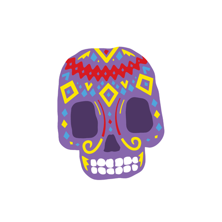cult: Bright Color Traditional Mexican Painted Scull Cool Pattern Vector Design Icon Isolated On White Background