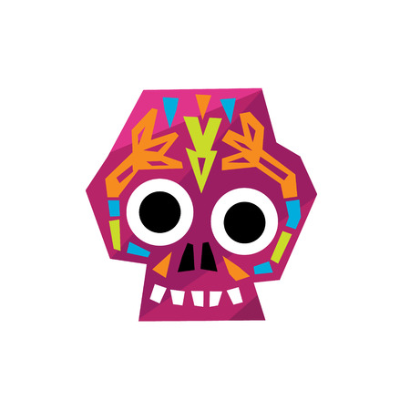 scull: Bright Color Traditional Mexican Painted Scull Cool Pattern Vector Design Icon Isolated On White Background