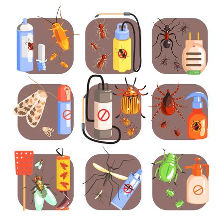 fumigador: Plagas y medidas para su exterminio Conjunto de piso coloridos iconos vectoriales simples Vectores