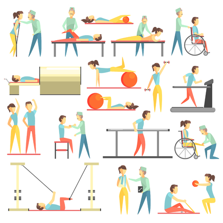crouches: Physical Therapy Infographic Illustration Set Of Flat Simplified Bright Color Minimalistic Icons