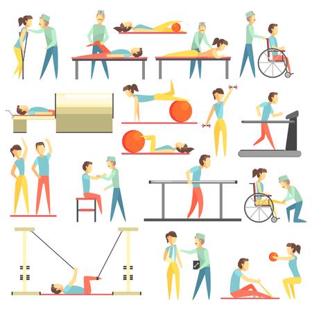 Terapia física Infografía Ilustración Conjunto de piso simplificado color brillante iconos minimalistas Foto de archivo - 58869633