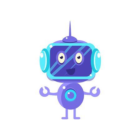 Glimlachende Robot Met Donker Scherm Flat Kinderachtig Cartoon Style Vector Tekening Geïsoleerd Op Witte Achtergrond Stock Illustratie