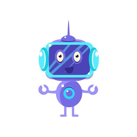 flat screen: Smiling Robot With Dark Screen Flat Childish Cartoon Style Vector Drawing Isolated On White Background Illustration