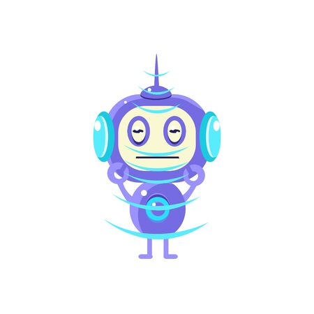 droid: Robot Recieving Radio Signal Flat Childish Cartoon Style Vector Drawing Isolated On White Background