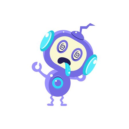 droid: Broken Little Robot Flat Childish Cartoon Style Vector Drawing Isolated On White Background Illustration
