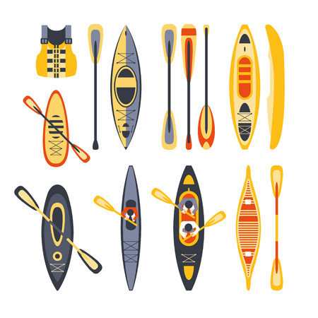 peddle: Canoe Sport Equipment Set Flat Simplified Cartoon Style Bright Color Vector Illustration On White Background Illustration