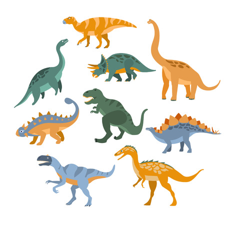 Different Species Of Dinosaurs Set Flat Simplified Cartoon Style Bright Color Vector Illustration On White Background Vettoriali