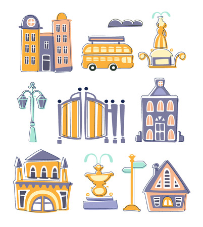 peculiar: City Buildings And Other Elements Creative Design Set Of Flat Outlined Bright Color Vector Illustration On White Background