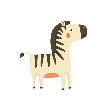 childish: Zebra Realistic Childish Illustration In Simple Cute Vector Design Isolated On White Background