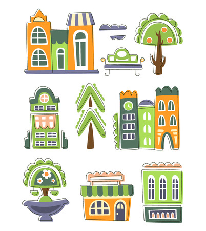 peculiar: City Buildings And Other Elements Creative Design Collection Of Flat Outlined Bright Color Vector Illustration On White Background