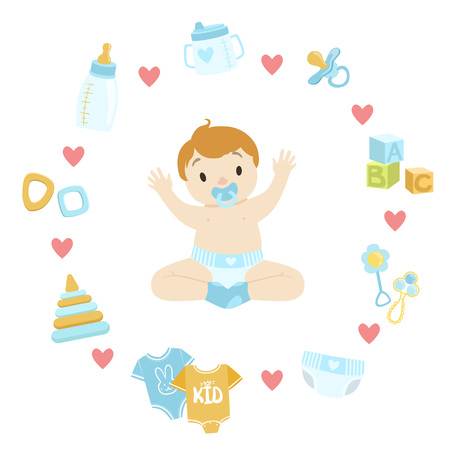 necessity: Baby Boy Surrounded With Object It Needs Flat Childish Cartoon Style Bright Color Vector Illustration On White Background