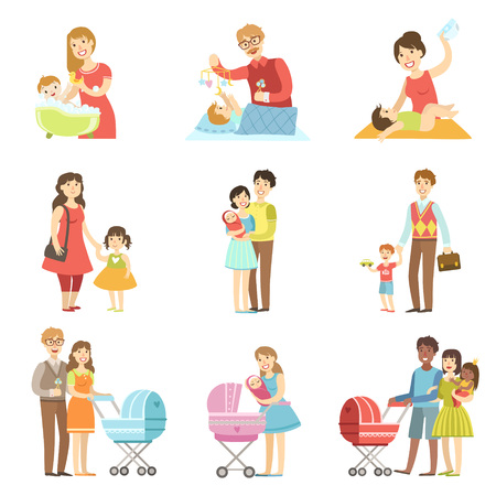 diaper changing: Happy Families With Kids And Babies Flat Childish Cartoon Style Bright Color Vector Illustration On White Background