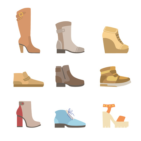 jackboot: Different Shoes Assortment Flat Simplified Cartoon Style Bright Color Vector Illustration On White Background Illustration