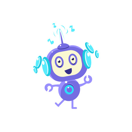 droid: Little Robot Dancing Flat Childish Cartoon Style Vector Drawing Isolated On White Background