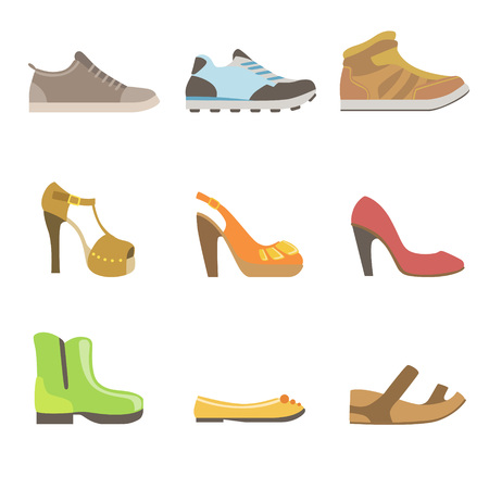 stripper: Different Shoes Set Flat Simplified Cartoon Style Bright Color Vector Illustration On White Background