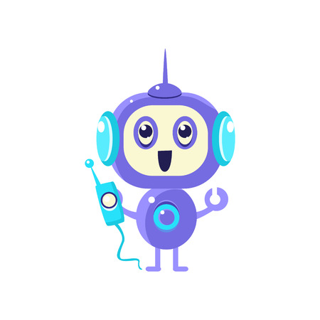 Happy Robot With Radio Flat Childish Cartoon Style Vector Drawing Isolated On White Background
