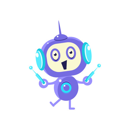 antennas: Happy Little Robot With Two Antennas Flat Childish Cartoon Style Vector Drawing Isolated On White Background Illustration