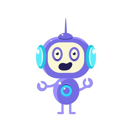 doubtful: Confused Little Robot Flat Childish Cartoon Style Vector Drawing Isolated On White Background