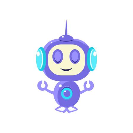 peacefully: Robot Meditating Peacefully Flat Childish Cartoon Style Vector Drawing Isolated On White Background Illustration