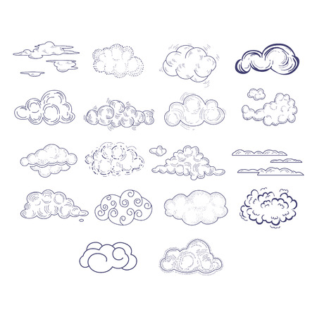 Different Style Hand Drawn Clouds Set Of Sketch Style Monochrome Vector Icons On White Background Illustration