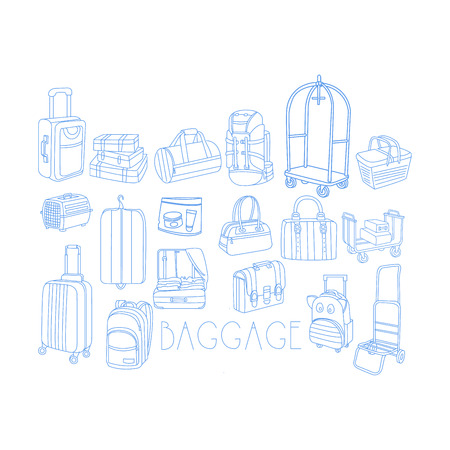 liquids: Baggage Related Object Set With Text Hand Drawn Simple Vector Illustration Is Sketch Style