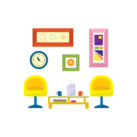 living things: Modern Design Living Room Furniture Flat Bright Color Vector Illustration On White Background Illustration