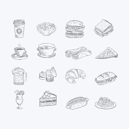 음식과 음료 손으로 그린 예술적 스케치 흰색 배경에 단색 벡터 아이콘 세트