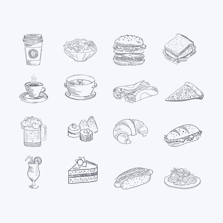 Eten en drinken Hand Getekend Artistieke Schets Set Van Monochrome vector pictogrammen op witte achtergrond