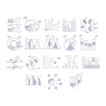 poll: Different Type Of Hand Drawn Charts Set Of Sketch Style Monochrome Vector Icons On White Background