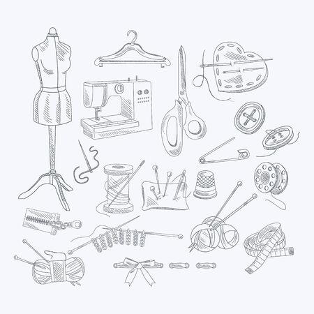 Tailor Shop-Ausrüstung Set Hand Künstlerische Vektor-Illustration in Sketch-Stil gezeichnet auf weißem Hintergrund