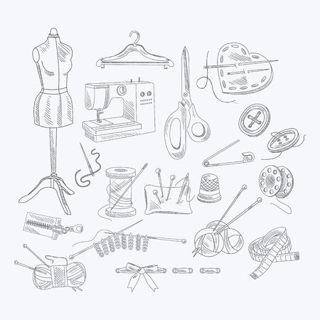 couturier: Tailor Shop Equipment Set Hand Drawn Artistic Vector Illustration In Sketch Style On White Background