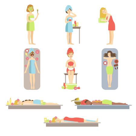 tratamientos corporales: Las mujeres que recibieron la piel y el cuerpo tratamiento En la ilustración de estilo de dibujos animados infantil Spa plana del color brillante del vector en el fondo blanco