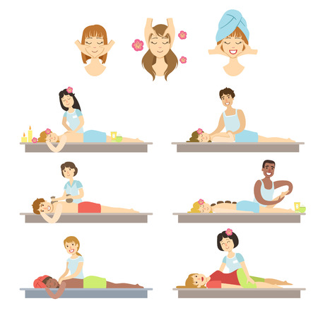 facial massage: People Getting Facial And Body Massage In Spa Flat Childish Cartoon Style Bright Color Vector Illustration On White Background