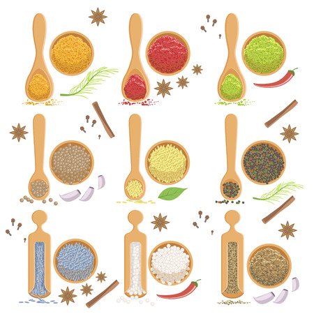 simplified: Powdered Spices Bowl And Corresponding Spoon Set Flat Simplified Cartoon Style Bright Color Vector Illustration On White Background