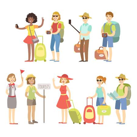 バッグとカメラで幸せな観光客は、白い背景にフラット子供っぽい漫画スタイルの明るい色のベクトルイラストを設定します  イラスト・ベクター素材
