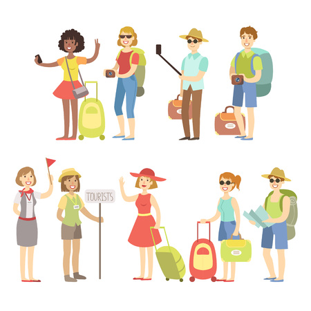 Felice turistico con i sacchetti e le telecamere di piatto infantile di stile del fumetto di colore brillante illustrazione vettoriale su sfondo bianco Vettoriali