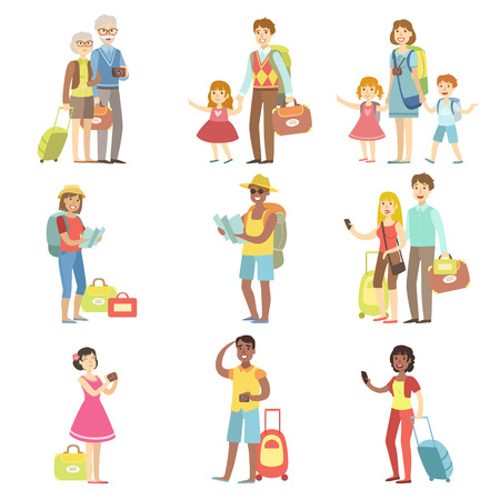 airport cartoon: Happy Tourists With Bags And Cameras Collection Flat Childish Cartoon Style Bright Color Vector Illustration On White Background