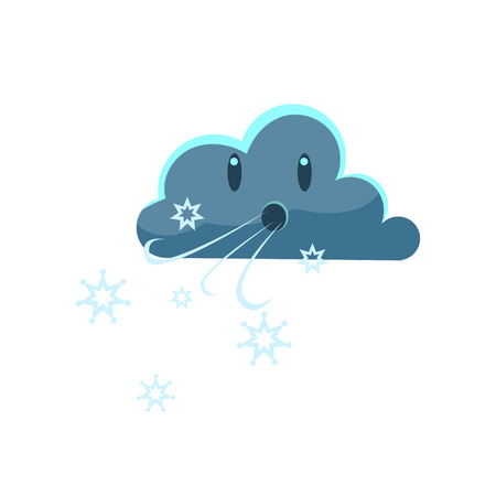 dark cloud: Dark Cloud Blowing Cold WindCute Childish Style Bright Color Design Icon Isolated On White Background Illustration