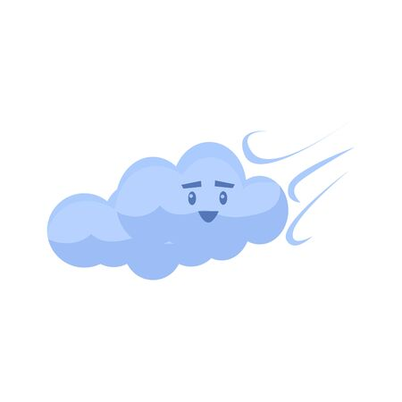 blown: White Cloud Blown AwayCute Childish Style Bright Color Design Icon Isolated On White Background Illustration