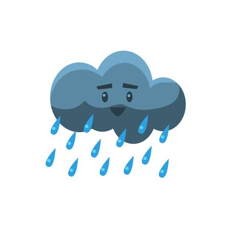 childish: Cloud Pouring Rain Cute Childish Style Bright Color Design Icon Isolated On White Background