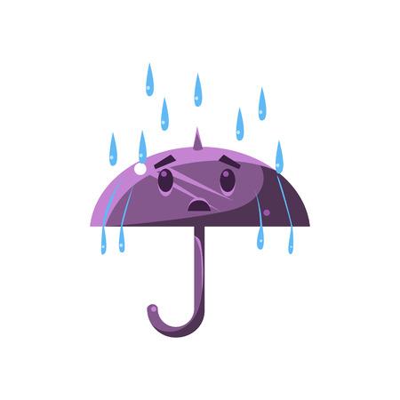 Umbrella Under The Heavy Rain Cute Childish Style Bright Color Design Icon Isolated On White Background