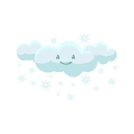 childish: White Snowing Cloud Cute Childish Style Bright Color Design Icon Isolated On White Background Illustration